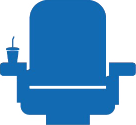 simplified blue theatre seat icon