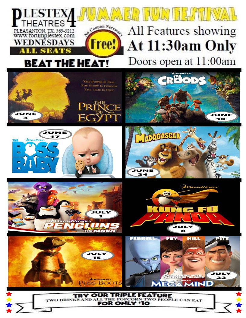 flyer describing Henson Theatres PlesTex 4 summer movie specials