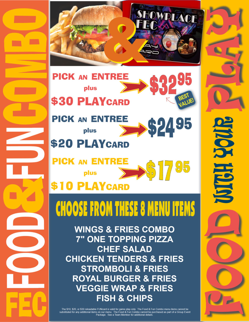 food and fun combo flyer