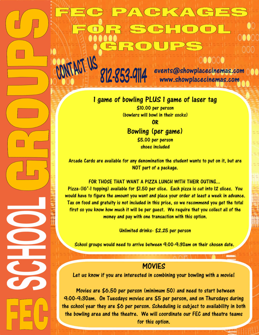 school group packages flyer